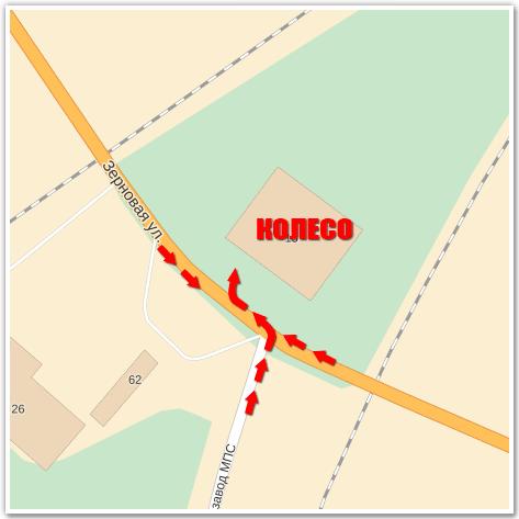 На карте Схема проезда
